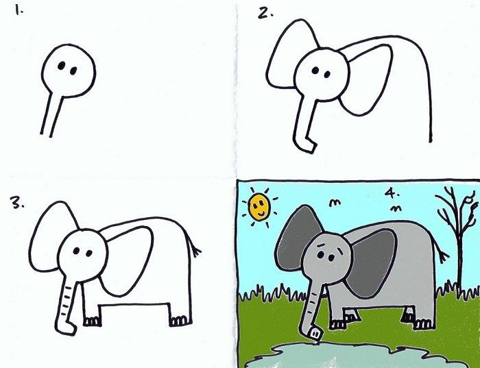 Как нарисовать слона, поэтапно