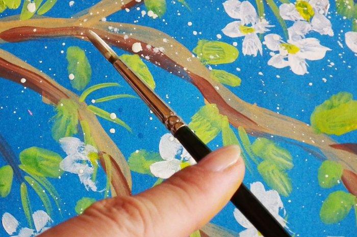 Як намалювати яблуню, або гілку яблуні крок 9