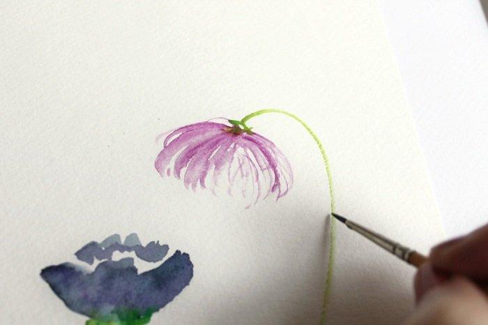 Рисуем фантазийные цветы акварелью, шаг 2