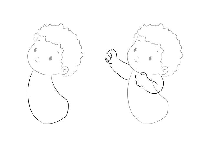 рисуем трогательного Купидона, схема 2
