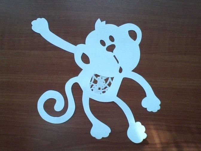 Як зробити витинанку-мавпочку на Новий рік, фото 7
