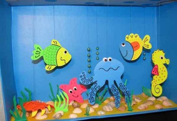 Летние поделки с детьми своими руками - аппликация аквариум, фото 4