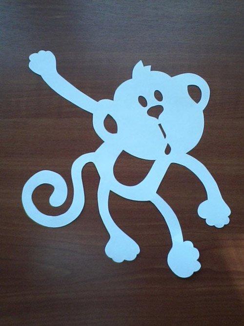 Як зробити витинанку-мавпочку на Новий рік, фото 3