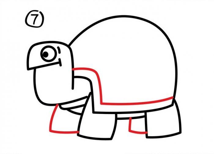 Как нарисовать черепаху карандашом поэтапно, фото 28