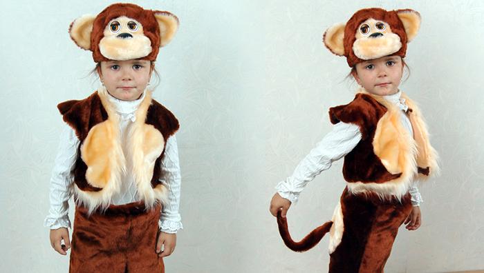костюм обезьяны для девочки на Новый год, фото