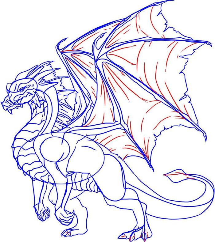 Как рисовать драконов шаг за шагом, схема 6 - этап 7