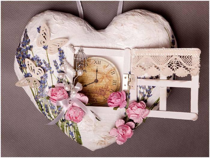 Настінний годинник Сердечко в стилі вінтаж своїми руками