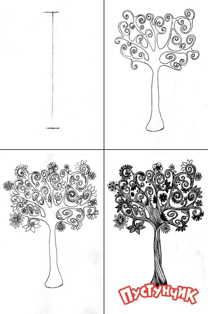 Как нарисовать дерево - дуб, фото 3
