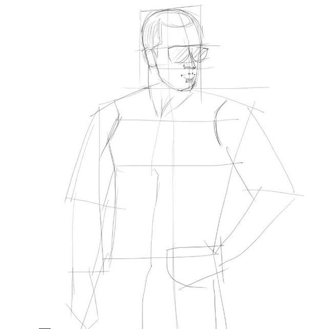 Как нарисовать парня, шаг 3
