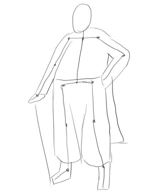 Как рисовать казака шаг за шагом - этап 2