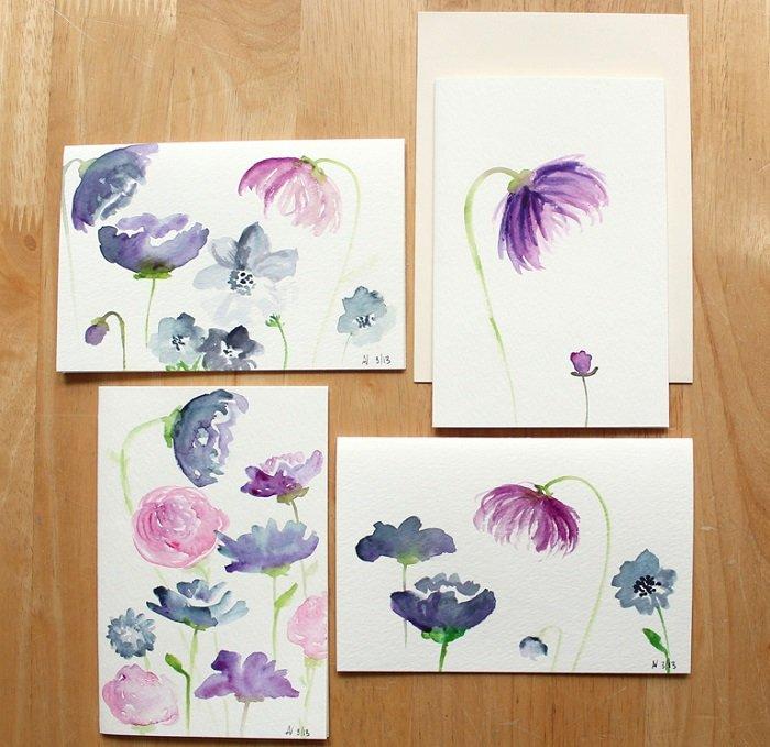 Рисуем фантазийные цветы акварелью, шаг 7