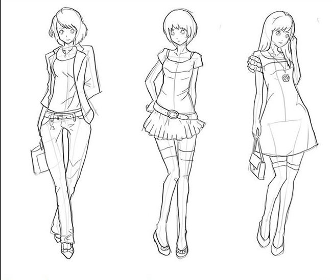Як намалювати дівчинку, схема 4