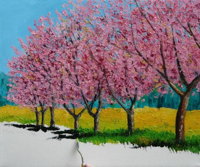 Рисуем весенний пейзаж мастихином, шаг 8
