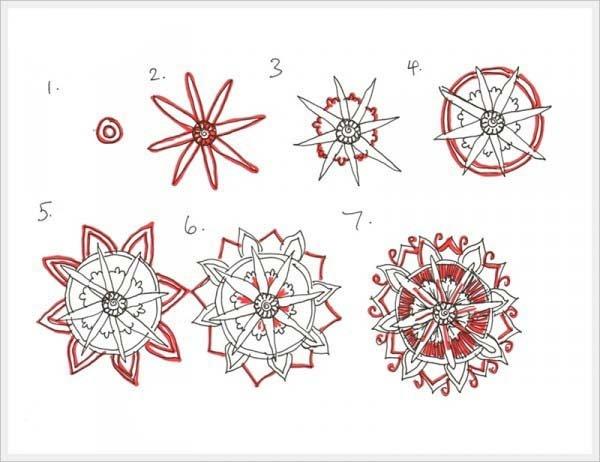 Рисуем орнамент цветок 3