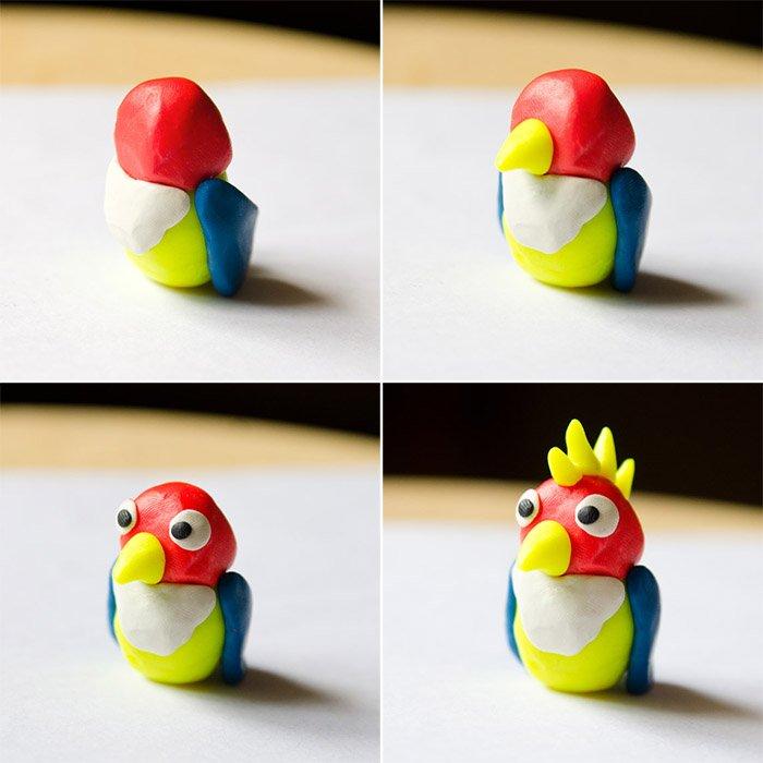Лепка птиц из пластилина - попугай, фото 3
