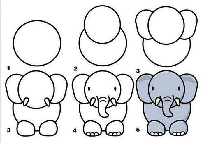 Как нарисовать слоненка поэтапно