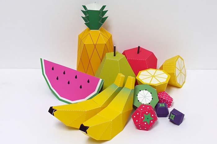 Объемные поделки из бумаги. Шаблоны фруктов для объемной аппликации, фото 1
