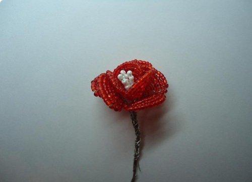 Розы из бисера, схемы. Мастер-класс, фото 10