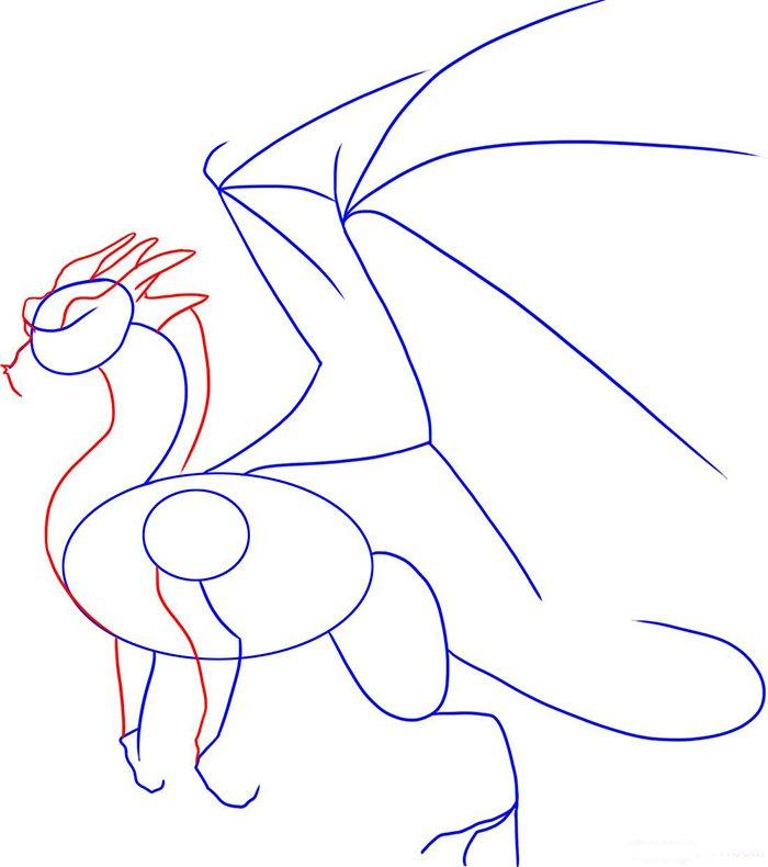 Как рисовать драконов шаг за шагом, схема 6 - этап 2