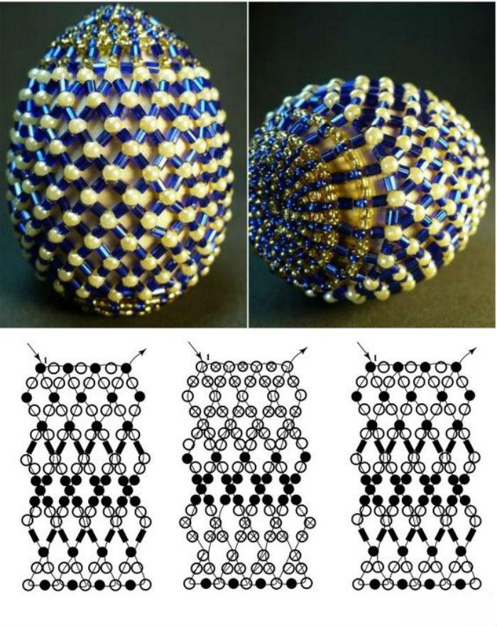 Ажурне плетіння яєць із бісеру. Схема