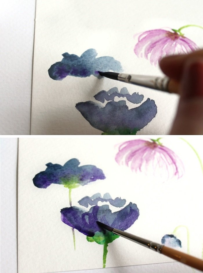 Рисуем фантазийные цветы акварелью, шаг 4