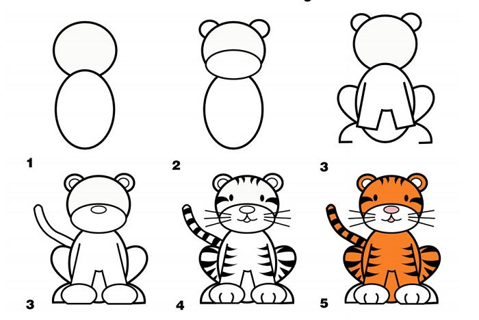 Как нарисовать тигренка поэтапно, фото 8