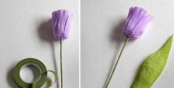 Как сделать тюльпаны из гофрированной бумаги – схема, фото 11