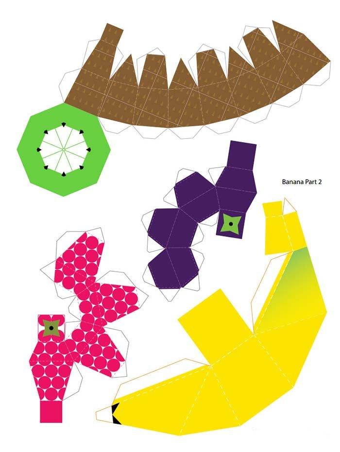 Объемные поделки из бумаги. Шаблоны фруктов для объемной аппликации, фото 5