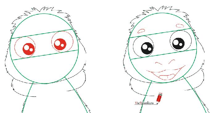 Как нарисовать Лунтика, схема 3 - фото 3
