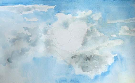 Учимся рисовать пейзаж акварелями, шаг 3