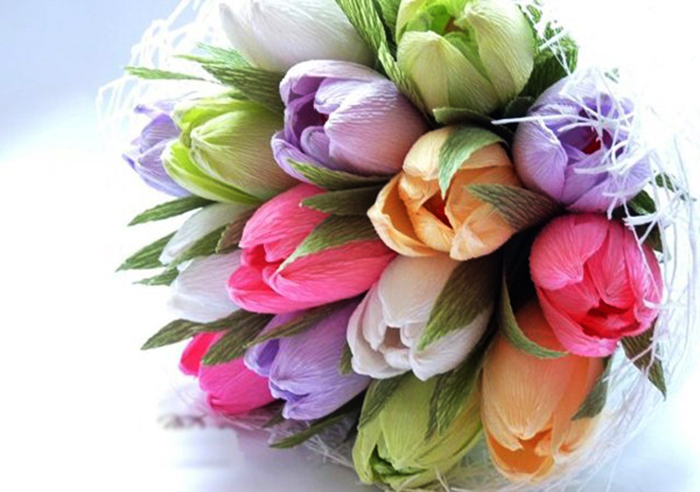 Как сделать тюльпаны из гофрированной бумаги – схема, фото 5