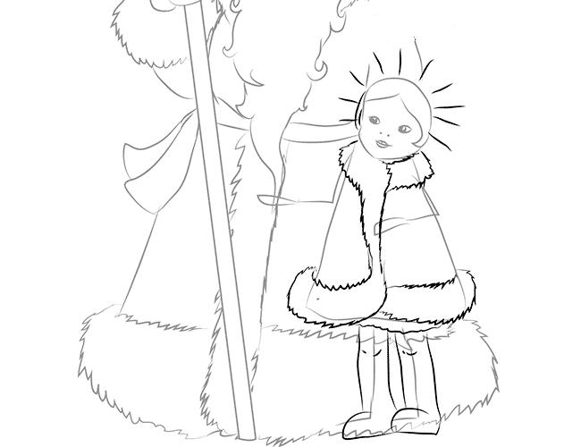Как нарисовать Снегурочку схема 2