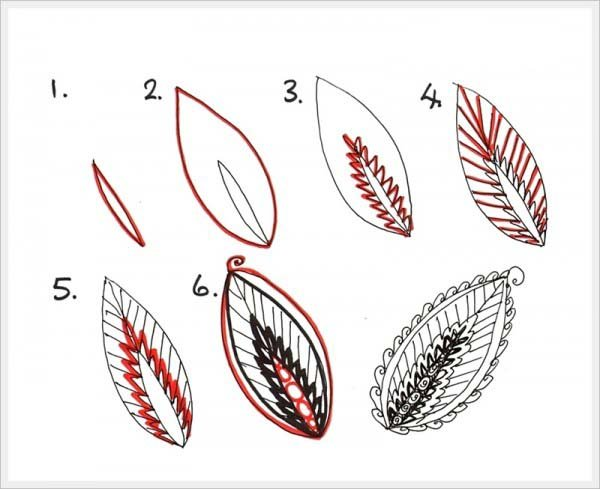 Малюємо орнамент листя крок 3