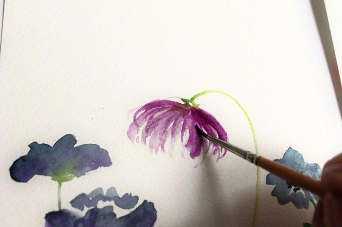 Рисуем фантазийные цветы акварелью, шаг 6