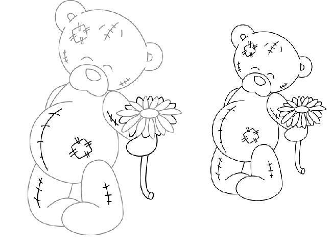 Як намалювати ведмедика Тедді, схема 2, крок 3
