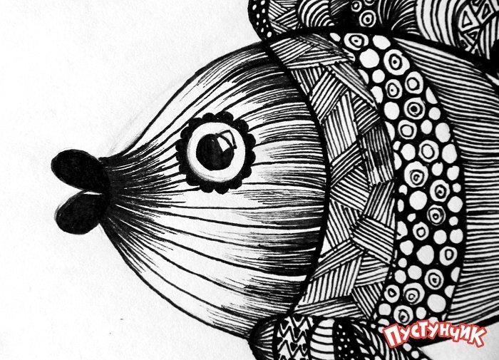 Зентангл тварини - рибка, фото 12