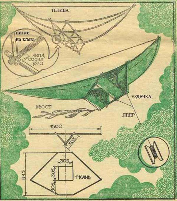 Как сделать воздушного змея из бумаги - схема