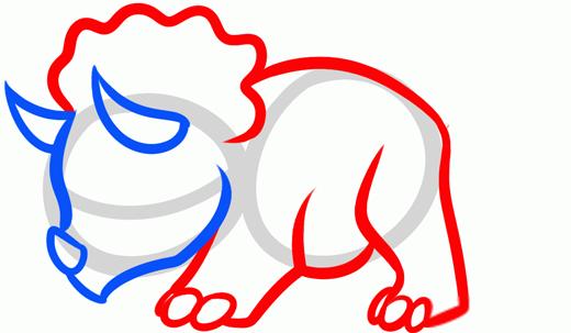Как нарисовать динозавра Трицератопса шаг 3