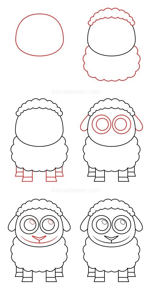 Как красиво нарисовать овечку схема 2