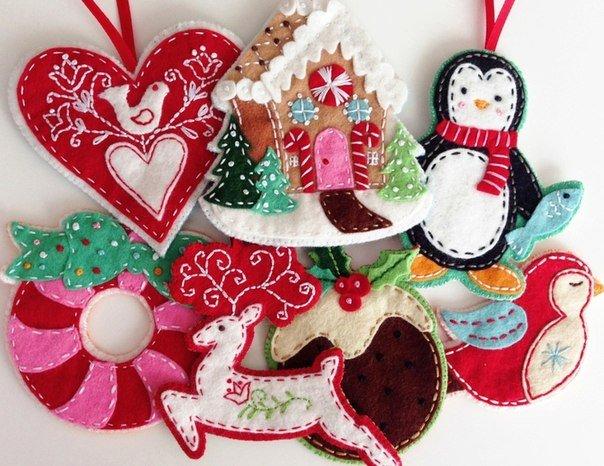 Новогодние игрушки из фетра, фото 1