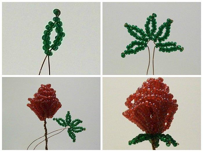 Букет роз из бисера, мастер-класс, фото 2
