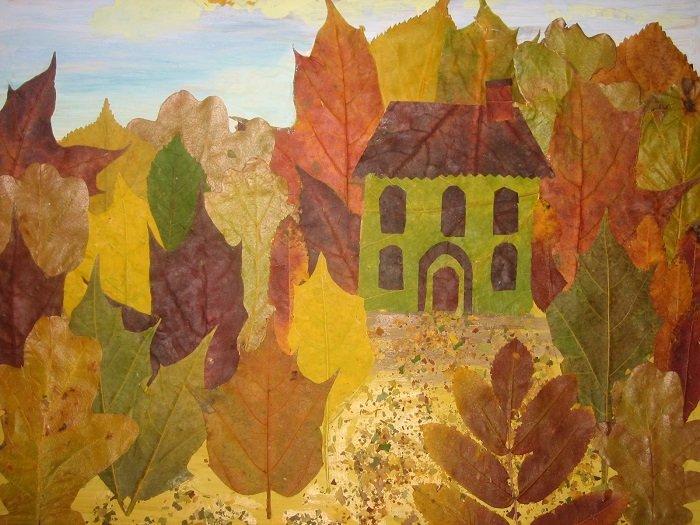 Аплікації з осіннього листя