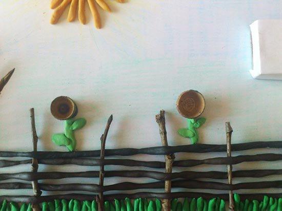 Ліплення з пластиліну в дитячому садку - парканчик, фото 8