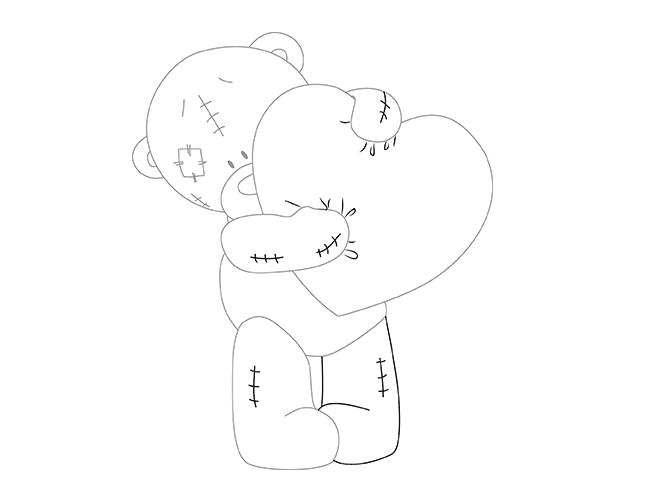 Як намалювати ведмедика Тедді, схема 1, крок 6