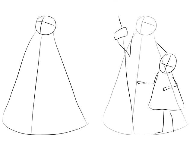 Как нарисовать Деда Мороза схема 1