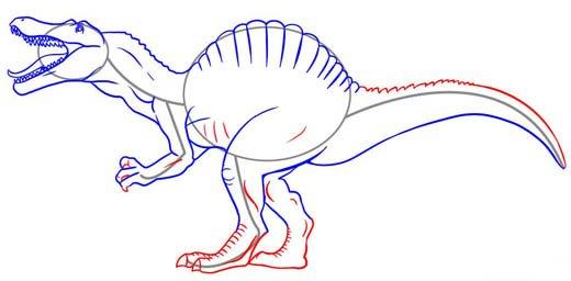 Как нарисовать динозавра Спинозавра, шаг 6