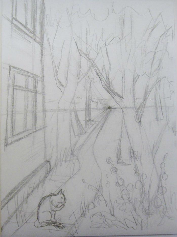 Как нарисовать пейзаж цветными карандашами, шаг 4