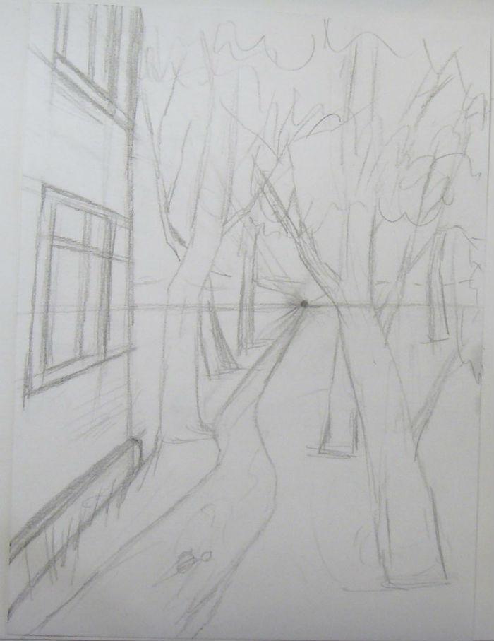 Как нарисовать пейзаж цветными карандашами, шаг 3