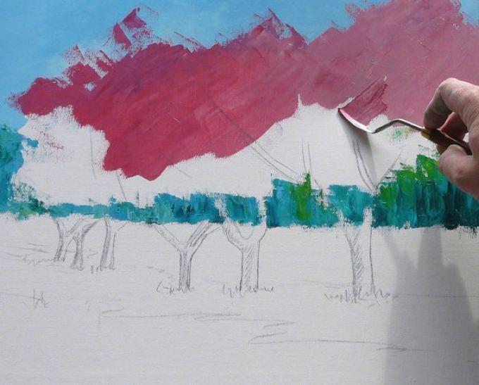 Рисуем весенний пейзаж мастихином, шаг 4