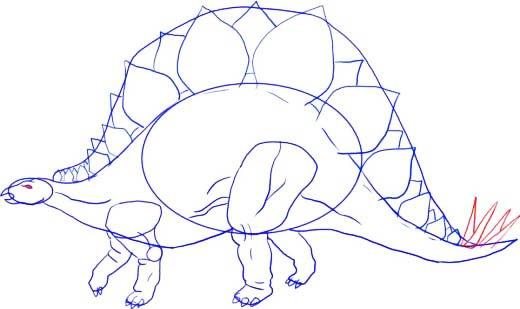 Как нарисовать динозавра Стегозавра, шаг 7
